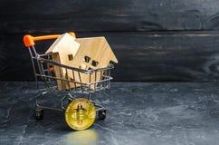 Supermarktwagen mit Häusern und bitcoin Legalisierung und cryptocurrency Bitcoin basiert auf blockchain Technologie Der Erwerb lizenzfreies stockbild