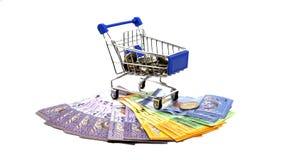 Supermarktwarenkörbe auf lokalisiert Lizenzfreies Stockfoto