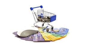 Supermarktwarenkörbe, Computermaus und Bargeld auf lokalisiert Lizenzfreie Stockfotografie