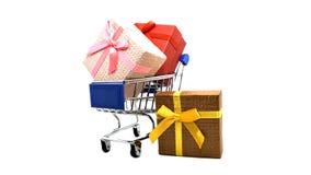 Supermarktwarenkörbe und wenig Geschenkbox auf lokalisiert Lizenzfreie Stockfotografie
