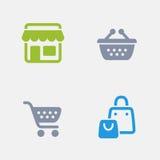 Supermercado - ícones do granito ilustração stock