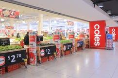 Supermercado Australia de Coles Fotografía de archivo