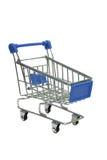Supermercado azul miniatura de la carretilla aislado en blanco Imagen de archivo