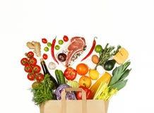 Supermercado, compra, alimento, vegetais, fruto, vinho, carne, completamente Fotografia de Stock Royalty Free