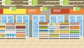 Supermercado interior con la comida en vector de los estantes ilustración del vector