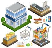 Supermercado isométrico ilustração stock
