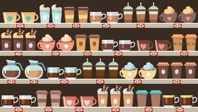 Supermercado, prateleiras com café ilustração royalty free