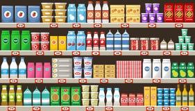 Supermercado, prateleiras com produtos e bebidas ilustração stock