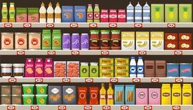 Supermercado, prateleiras com produtos e bebidas ilustração do vetor