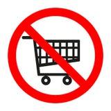Supermercato del carrello proibito segno su fondo bianco Immagine Stock