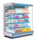 Supermercato. Prodotti lattier-caseario. Immagine Stock Libera da Diritti
