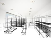 Supermercato, rappresentazione 3d Immagini Stock Libere da Diritti