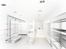 Supermercato, rappresentazione 3d Fotografie Stock Libere da Diritti