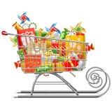 Supermercato Sleigh di vettore con i regali royalty illustrazione gratis
