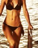 Supermodel auf dem Strand Stockfoto
