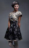 Supermodel - mooie brunette in korte kleding Stock Fotografie