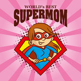 Supermom logo Cartoon character superhero Stock Image