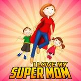 Supermom med ungar i lyckligt mors dagkort royaltyfri illustrationer