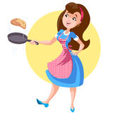 Supermom. A woman in an apron with a frying pan Stock Photos