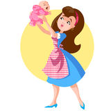 Supermom2. A woman with a baby girl in her arms Royalty Free Stock Photo