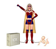 Supermom Juggling Family Baby And Work Illustration Royalty Free Stock Image