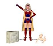 Supermon som jonglerar familjen, behandla som ett barn och arbetar illustrationen stock illustrationer