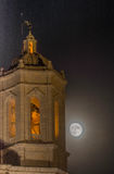 Supermoon behind the cathedral of Girona, Catalonia, Spain Stock Images