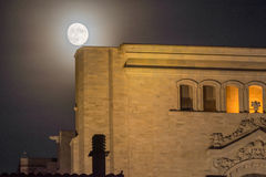 Supermoon behind the cathedral of Girona, Catalonia, Spain Royalty Free Stock Photo
