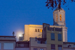 Supermoon behind the cathedral of Girona, Catalonia, Spain Royalty Free Stock Images