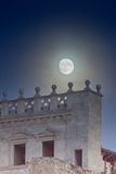 Supermoon behind the Church of Sant Feliu in the old twon of Gir Stock Images