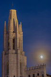 Supermoon behind the Church of Sant Feliu in the old twon of Gir Royalty Free Stock Photo