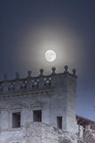 Supermoon behind the Church of Sant Feliu in the old twon of Gir Royalty Free Stock Photography