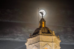 Supermoon behond the cathedral of Girona, Catalonia, Spain Royalty Free Stock Images