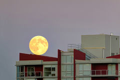 Supermoon climbed up to the roof of an apartment building Royalty Free Stock Photography