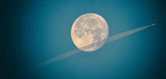 SuperMoon flyby Stock Photo