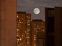 Supermoon over Buildings stock photo