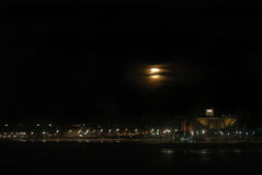 Supermoon over Las Canteras Beach Royalty Free Stock Photography