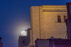 Supermoon over the rooftops of the old town of Girona, Catalonia Royalty Free Stock Images