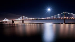 Supermoon over SF Bay Bridge. Supermoon event over SF Bay Bridge in August 2014 Royalty Free Stock Image
