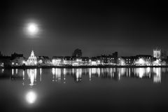Supermoon rising over Norfolk town UK Royalty Free Stock Photo