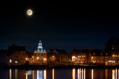 Supermoon rising over Norfolk town UK Royalty Free Stock Photos