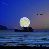 Supermoon at Tanjung Lumpur. A beach located at a fishermen village call Tanjung Lumpur, Kuantan, Malaysia Stock Images