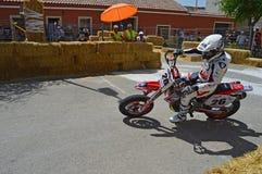 Supermotard Algueña Motorcycle Race Stock Photo