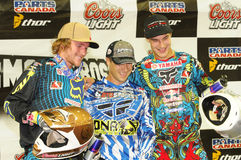 Supermotocross montreal podium mx1 Royalty Free Stock Image