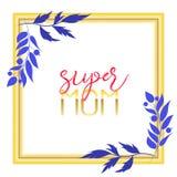 Supermuttertextdesign in der realistischen Art für glückliche Tagesfeier der Mutter-s Vektorillustration für Grußkarte oder Stockfotografie
