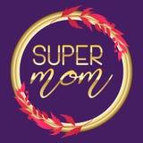 Supermuttertextdesign in der realistischen Art für glückliche Tagesfeier der Mutter-s Vektorillustration für Grußkarte oder Stockbilder