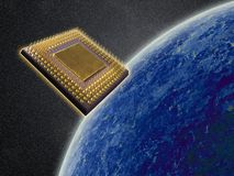 Supernal technology. Microchip from outer space Royalty Free Stock Photos