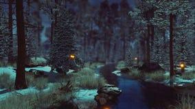 Supernatural fairy lights in dark winter forest 4K