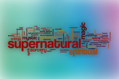 Supernatural word cloud with abstract background Royalty Free Stock Photos