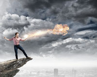 Supernormal man Stock Photo
